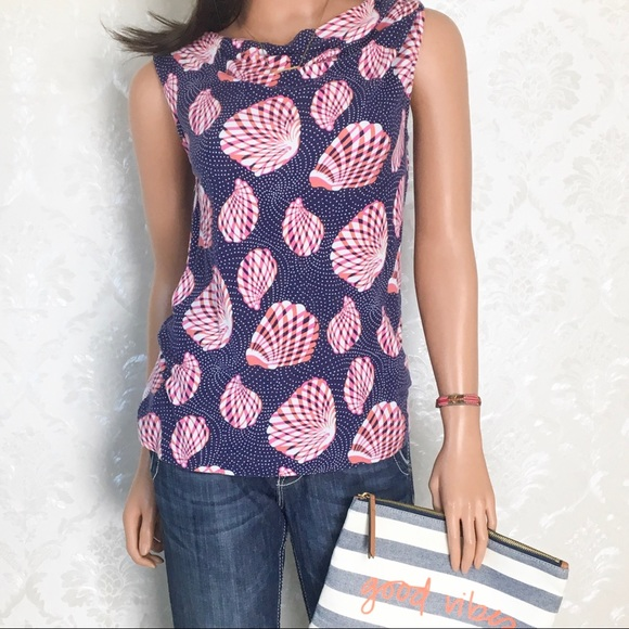 Lilly Pulitzer Tops - Lilly Pulitzer Great Escape Seashell Cowl Neck Top